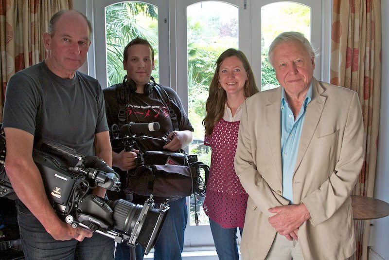 Louisa Gilbert filming with Sir David Attenborough