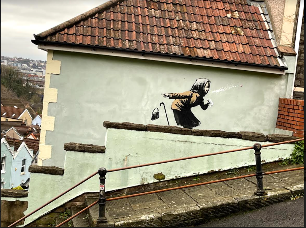 Sneezing lady 'Banksy' blows into Vale St, Totterdown