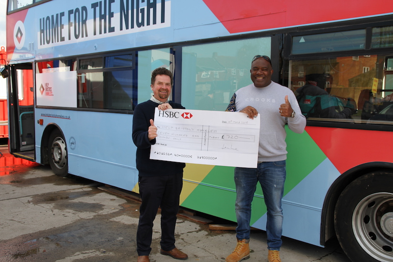 Laz Irvine hands £720 donation to Help Bristol's Homeless