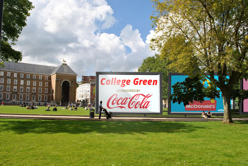 Mock-up of a MacDonald's advert on College Green, Bristol