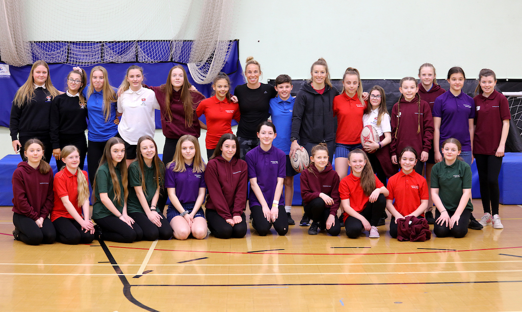 Susannah Townsend MBE and Fiona Pocock pictured with Bedminster Down pupils