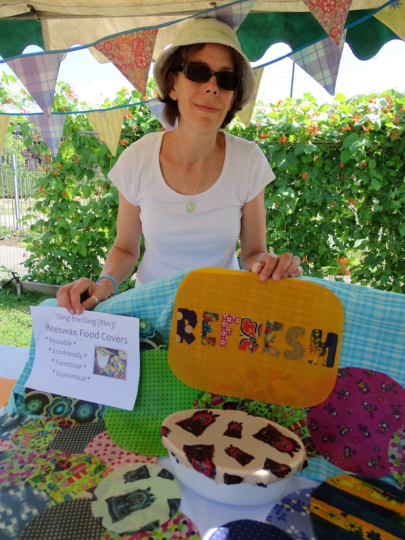 Juliet Gilchrist and her Refresh covers for food, made of beeswax