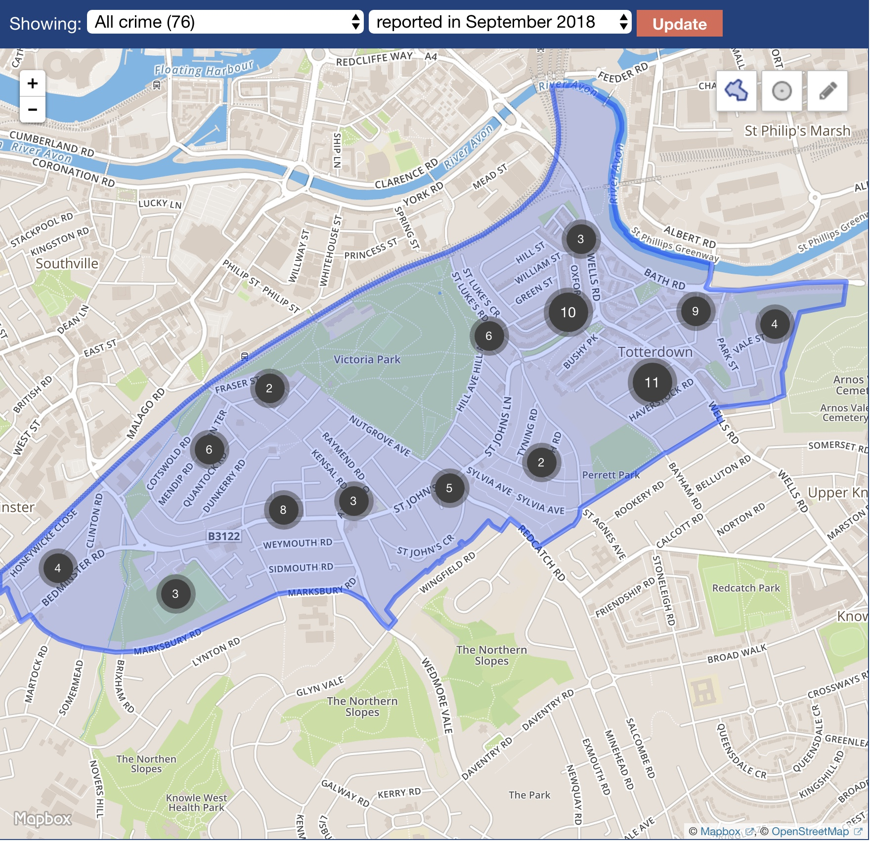 Crime map Windmill Hill ward September 2018