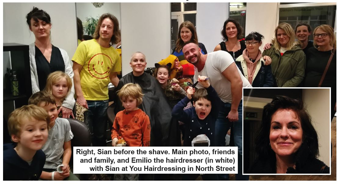 Sian with family and friends at You Hairdressing