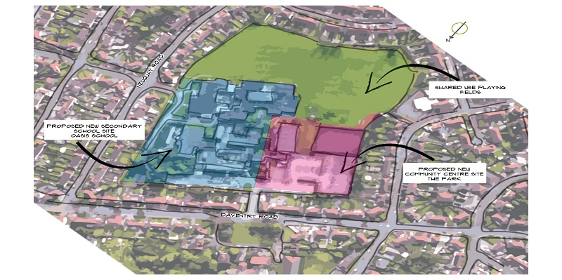 A bird's eye view of The Park site, showing the locations of the new community building (front, right) and new secondary school (front, left)