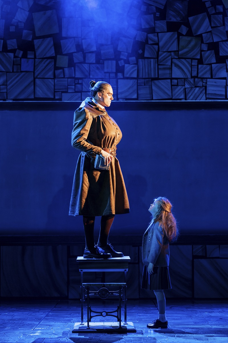 Elliot Harper as Miss Trunchbull in the Royal Shakespeare Company's Matilda The Musical
