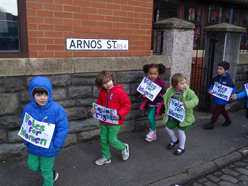 Children march in honour of the suffragettes