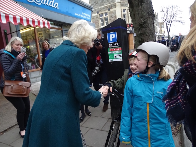 Camilla greets children in North Street