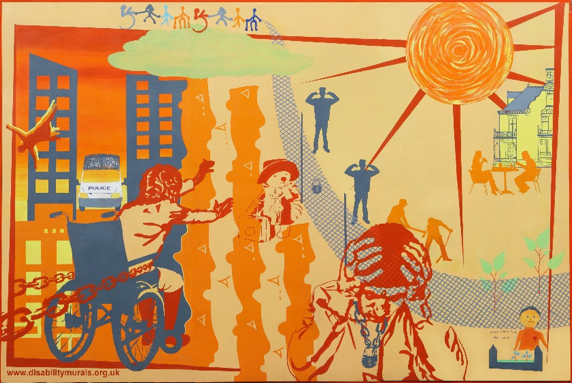 Mural showing plight of disabled asylum seekers