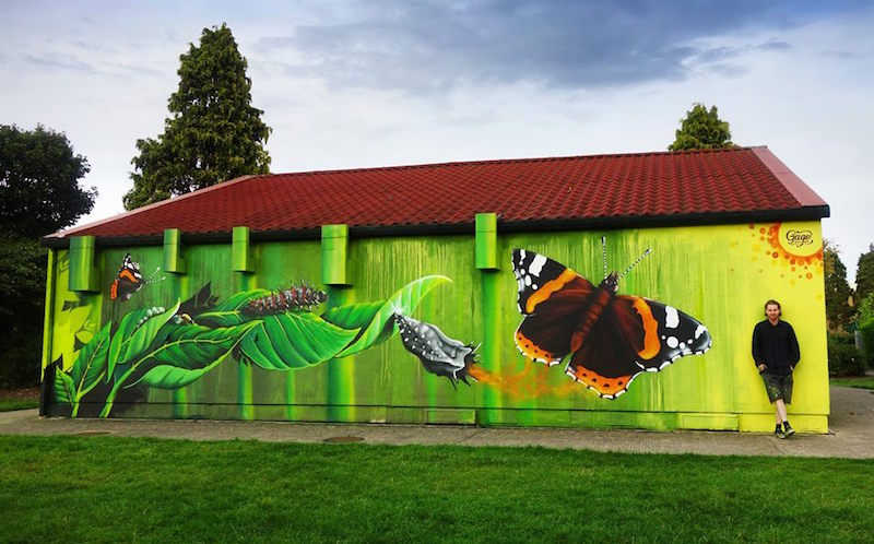 Ollie Gillard and butterfly mural