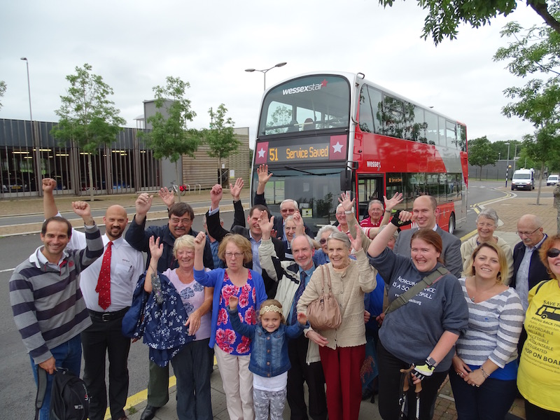 Celebrating the salvation of the 51 bus at South Bristol hospital