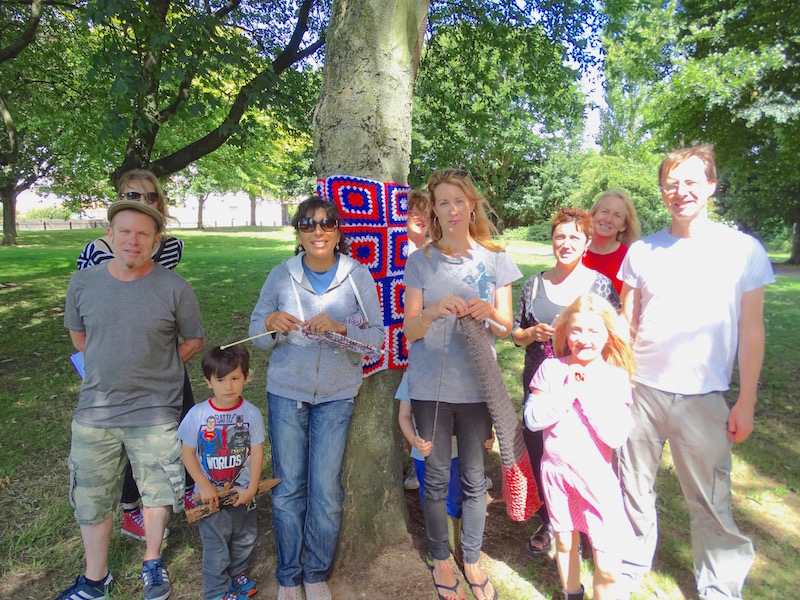 Yarn bombers on Bedminster Green